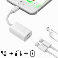Kabel Splitter Lightning + Audio Charge Adapter Iphone X 7 8 Plus XS