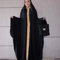 Mukena terusan abaya dubai spandek sutra cantik blink besar hitam