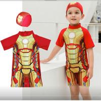Baju Renang Anak Bayi Laki cowok Lengan 1/2 Swimsuit Iron man w Topi