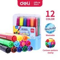 Deli 70652 felt pen with stamp 12 colors