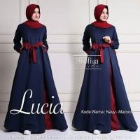 Baju Gamis Wanita Muslim Terbaru Lucia Dress Syari Gamis Polos Murah