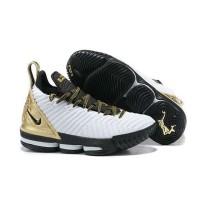 Sepatu Nike Lebron James 16 White Black/Metalic Gold Putih Emas