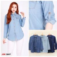 Baju Kemeja Jeans / Denim Atasan Wanita Lengan Panjang JSK 3607
