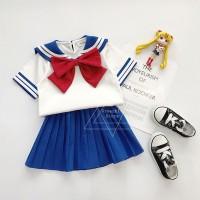 Setelan Kaos T-Shirt Anak Perempuan Lengan Pendek Gambar Sailor Moon
