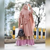 Gamis Ceruty Polos Gagil Syari Ld 120 Set Khimar Dress Muslim premium