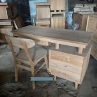 Meja & kursi untuk kantor/ kerja/ belajar kayu jati mentahan