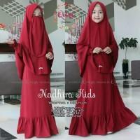 Baju Gamis Anak Set Hijab Cadar Nadhira Kids Syari Original Qiara