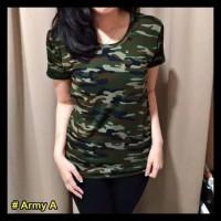 T-Shirt Army / Atasan Wanita Loreng / Kaos Murah / Kekinian - Hijau, L
