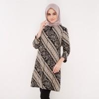 Atasan Muslim - FBW Aisha Covered Button Batik Tunic Parang - Krem
