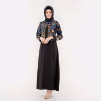 Dress Muslim - FBW Najwa Cape Layer Batik Gamis Dress Bunga - Hitam