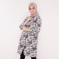 Atasan Muslim - FBW Aisha Covered Button Batik Tunic Kembang - Putih