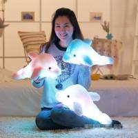 lampu tumblr Colorful 45cm Led Light Pillow Plush Dolphin Pillow
