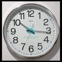 Jam Dinding Sakana 715 Warna Putih Chrome Ukuran 50 Cm - Putih