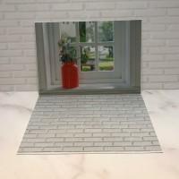 Alas Foto 3D Background Foto 3D A3 motif lantai bata & pot bunga merah