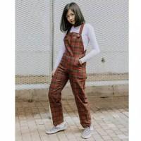 jumpsuit kotak kotak celana kodok wanita anak anak remaja korea