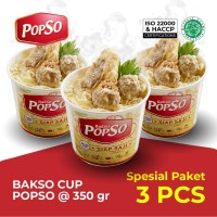 Bakso Cup PopSo Paket isi 3 cup @ 350 gr x 3 cup