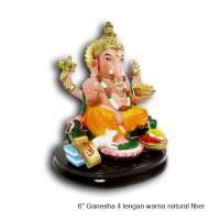 Patung Rupang Arca Dewa Ganesha Ganesa 4 Lengan Fiber 6