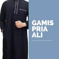 Baju Muslim Laki Laki Dewasa Hitam & Abu / Baju Jubah Gamis Laki Kado