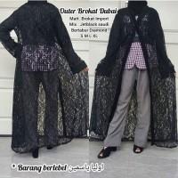 abaya gamis hitam arab pesta S M L XL OUTER BROKAT DUBAI