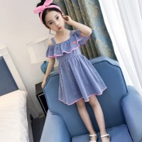 Ready Stock Setelan Baju Anak Cewek Import Sabrina Dress + Bandana