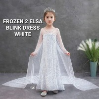 BAJUKIDDIE FROZEN 2 ELSA BLINK WHITE DRESS anak perempuan gaun pesta