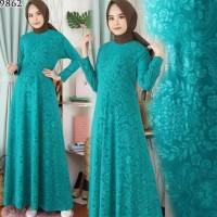 Baju Gamis Wanita Terbaru Gamis Jumbo XL Gamis Polos Jersey Embos 9862