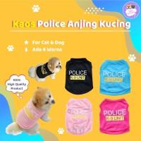 Baju Anjing Kucing tshirt Kaos Hewan kecil Motif Police Hitam Pink