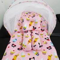 set kasur bayi kelambu lipat karakter bola MU bantal guling babybess
