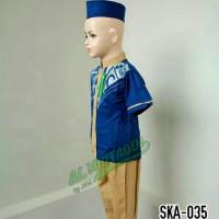 Baju Anak Muslim Setelan Baju Koko Balita Biru Lengan Pendek SKA 035 -
