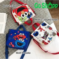 ToteBag Elmo Import - Tote Bag Kanvas Tebal dan Sleting Premium