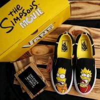 Sepatu Vans x The Simpsons Slip On LX Bart & Lisa White Black Yellow