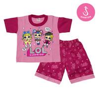 Baju Setelan Anak Perempuan Pink LOL Model B Shirton - LOL B, Size O Pink
