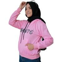 Jaket Hoodie Unisex Pria Wanita Motif Namaste - Pink