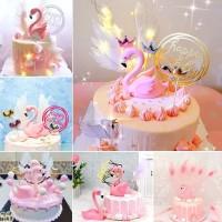 Dekorasi kue ulang tahun / Topper Flamingo untuk kue pesta ulang tahun