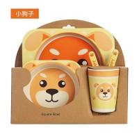 Bamboo Fiber Feeding kids Set Dog / Peralatan makan bayi Anjing