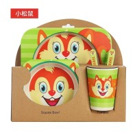 Bamboo Fiber Feeding kids Set SQUIRREL / Peralatan makan bayi Tupai