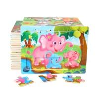 Puzzle kayu 12pcs Mainan anak edukasi montessori