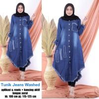 Long tunik jeans wash / Maxi dress / Terusan tunik / Baju wanita