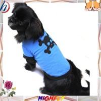 Kaos T-Shirt Motif Print Gambar Tengkorak Bahan Katun Warna Biru