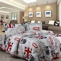 Bedcover Set Katun Motif London Size Double   Bad Cover Set   Sprei