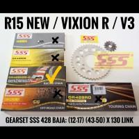 GEARSET/GIRSET/GIR SET SSS R15 V3 / VIXION V3 428 RANTAI SSS GOLD HSBT