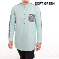 baju kurta lengan panjang / baju muslim / baju koko / kemeja pria - M, Soft pink