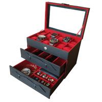 Kotak Jam Tangan isi 12+Kacamata+Perhiasan dan Aksesoris - HITAM in MERAH