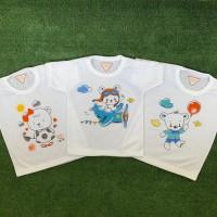 3 PCS Kaos Oblong Bayi Anak Unisex Print Cute Bear SUNFLOWER 1-2 TAHUN
