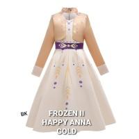 FROZEN 2 HAPPY ANNA DRESS GOLD baju anak perempuan pesta elsa II gaun