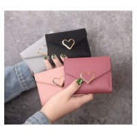W38 Dompet Pendek Wanita Simple Love Women Short Wallet