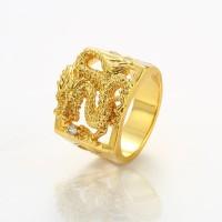 Cincin Naga Emas 24K / Cincin Pria Motif Naga Gold Plated Mewah Elegan
