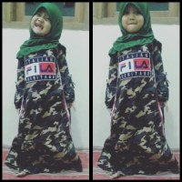 hoot sale Baju gamis muslim army loreng fila anak cewe terbaru katun