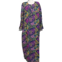 Daster Batik Lengan Panjang Kencana Ungu / Longdres/ baju tidur jumbo