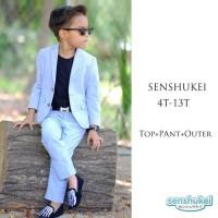 Baju Setelan Jas Blazer Formal Anak Laki Laki Biru Pastel FO2001 - 3-4